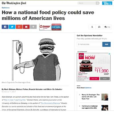 The Washington Post calls for unified food policy. Dietary Guidelines recommendations delivers.